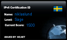 IPv6 Certification Badge for niklaslund