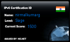 IPv6 Certification Badge for nirmalkumarg