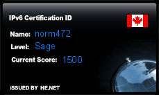 IPv6 Certification Badge for norm472