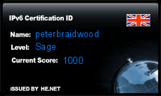 IPv6 Certification Badge for peterbraidwood