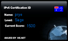 IPv6 Certification Badge for prye