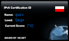 IPv6 Certification Badge for quex