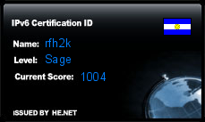 IPv6 Certification Badge for rfh2k