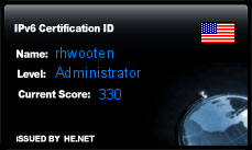 IPv6 Certification Badge for rhwooten