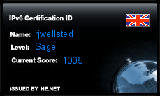 IPv6 Certification Badge for rjwellsted