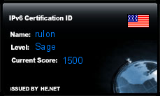 IPv6 Certification Badge for rulon