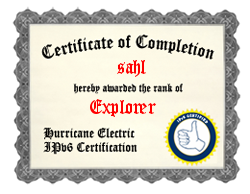 IPv6 Certification Badge for sahl