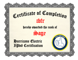 IPv6 Certification Badge for tbfr