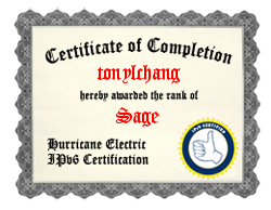 IPv6 Certification Badge for tonylchang