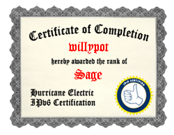 IPv6 Certification Badge for willypot