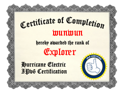 IPv6 Certification Badge for wunwun