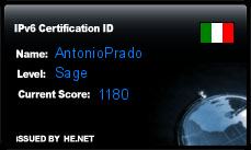 IPv6 Certification Badge for AntonioPrado