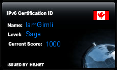 IPv6 Certification Badge for IamGimli
