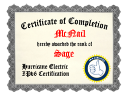 IPv6 Certification Badge for McNail