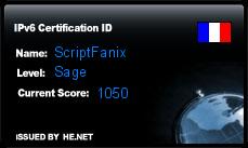 IPv6 Certification Badge for ScriptFanix