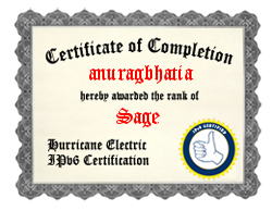 IPv6 Certification Badge for anuragbhatia