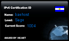 IPv6 Certification Badge for baehost