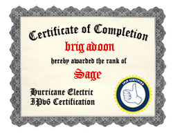 IPv6 Certification Badge for brigadoon