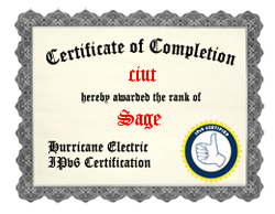IPv6 Certification Badge for ciut