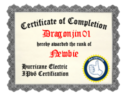 IPv6 Certification Badge for dragonjin01
