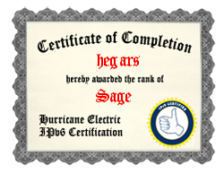 IPv6 Certification Badge for hegars