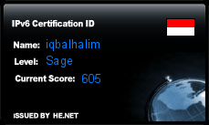 IPv6 Certification Badge for iqbalhalim
