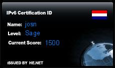 IPv6 Certification Badge for josn