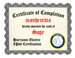IPv6 Certification Badge for juanheredia
