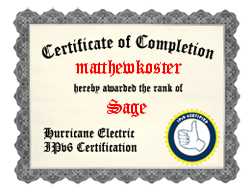 IPv6 Certification Badge for matthewkoster