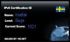 IPv6 Certification Badge for mattsk