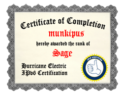 IPv6 Certification Badge for munkipus