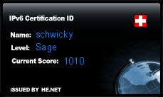 IPv6 Certification Badge for schwicky