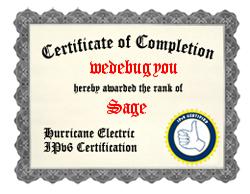 IPv6 Certification Badge for wedebugyou